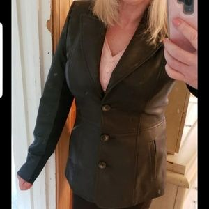 Jones of New York Leather Jacket fitted worn once